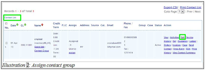 BMO inventory assign contact group 2