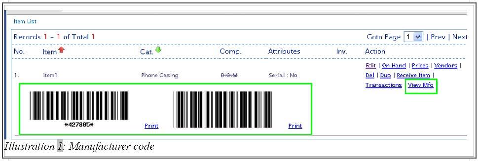 BMO Inventory item manufacturer code 3