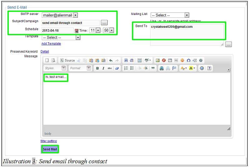 BMO inventory send email through contact 3