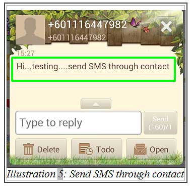 BMO inventory send sms through contact 5
