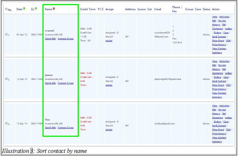 BMO inventory sort contact 3