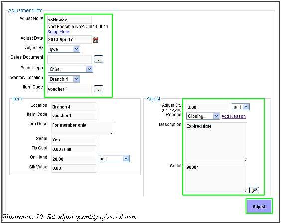 BMO Inventory Adjustment Item 10