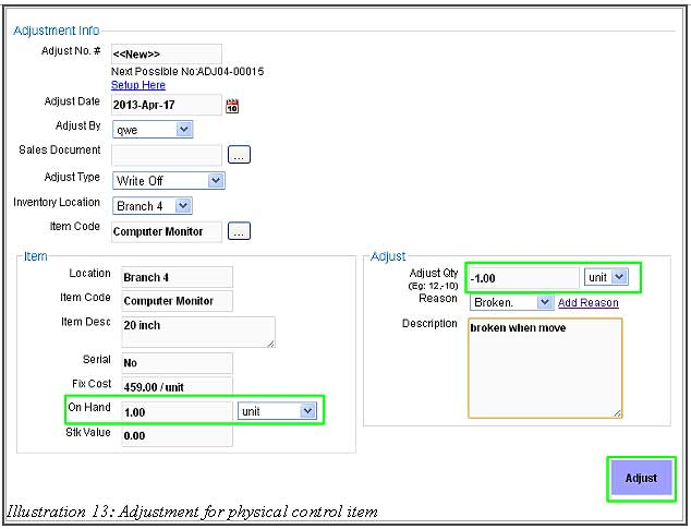 BMO Inventory Adjustment Item 13