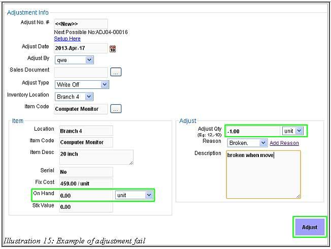 BMO Inventory Adjustment Item 15