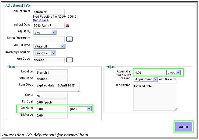 BMO Inventory Adjustment Item 18