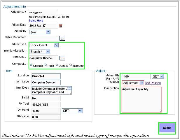 BMO Inventory Adjustment Item 21