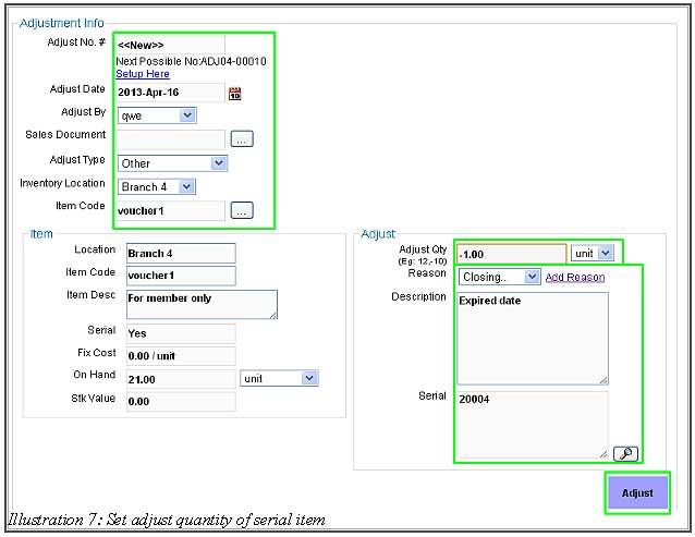 BMO Inventory Adjustment Item 7