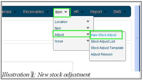 BMO inventory create new stock adjustment 1